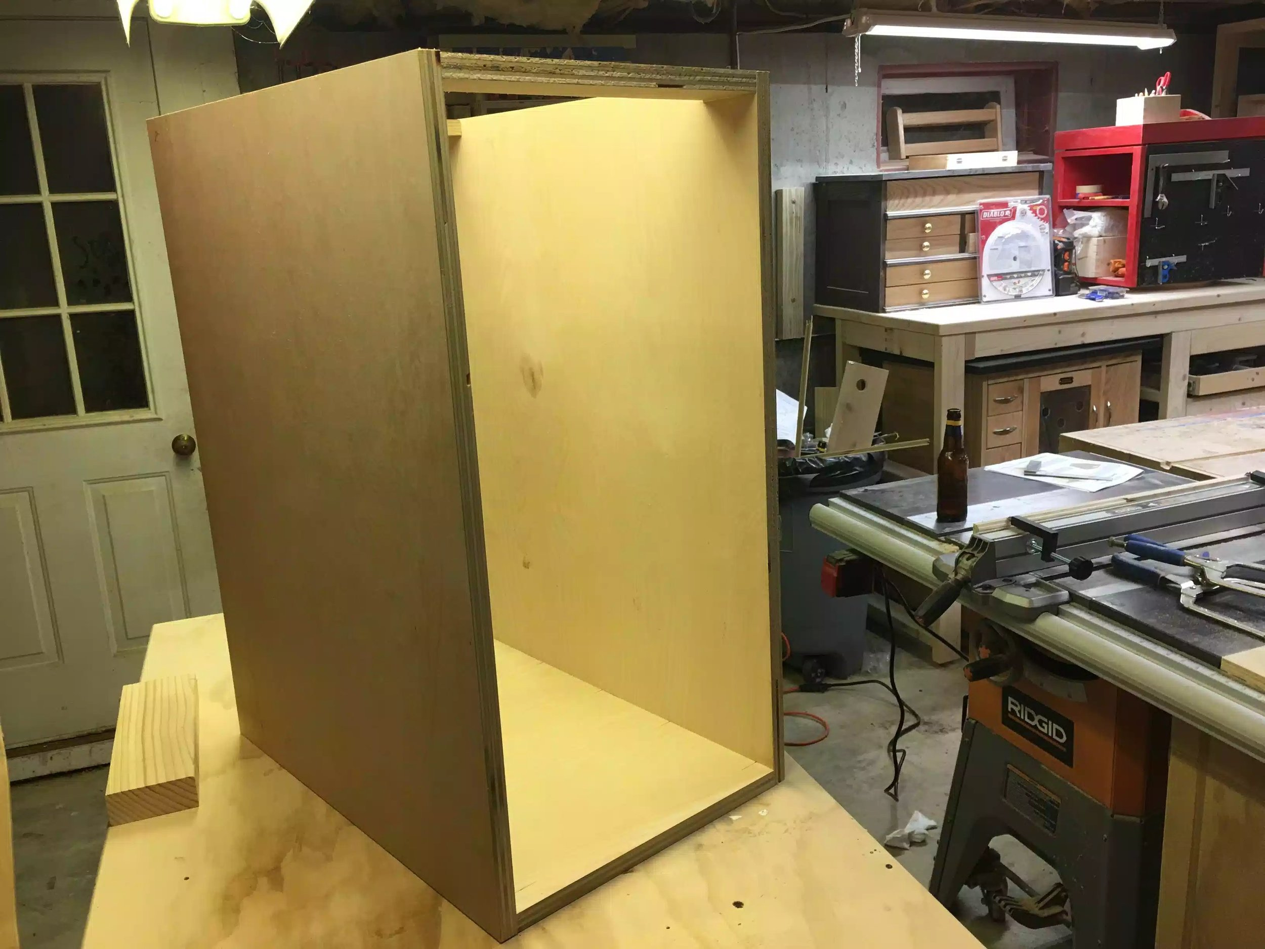 Here you can see the front side of the cabinet, this is where I will be installing the 5 drawers.