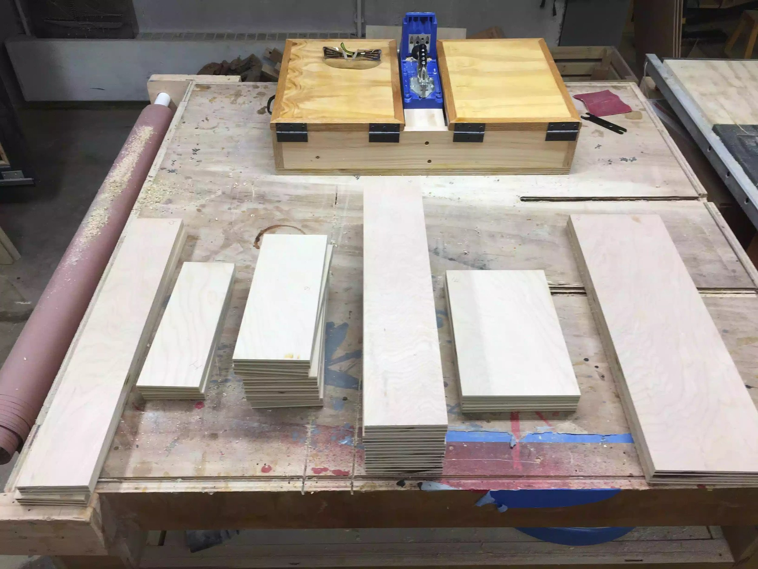 Here are all the drawer parts cut to size (accept the bases)
