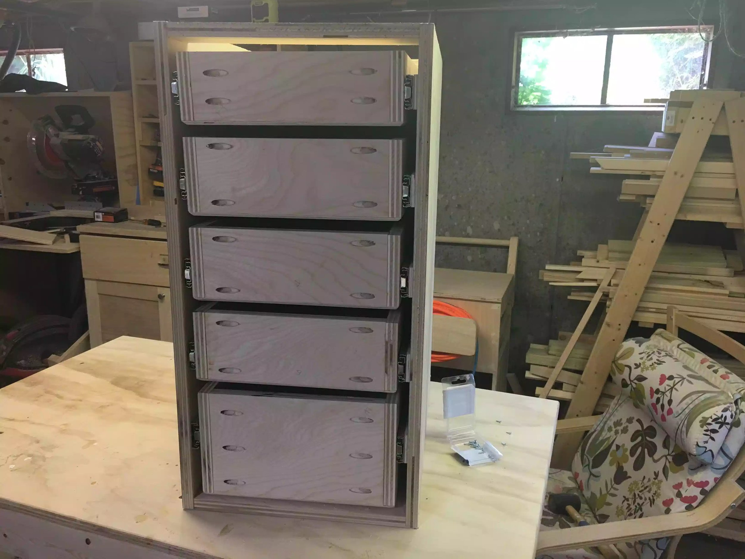 Finally here is the front of the cabinet, I will be adding false fronts to hide the pocket hole screws and it will also add that nice finished look to the cart.