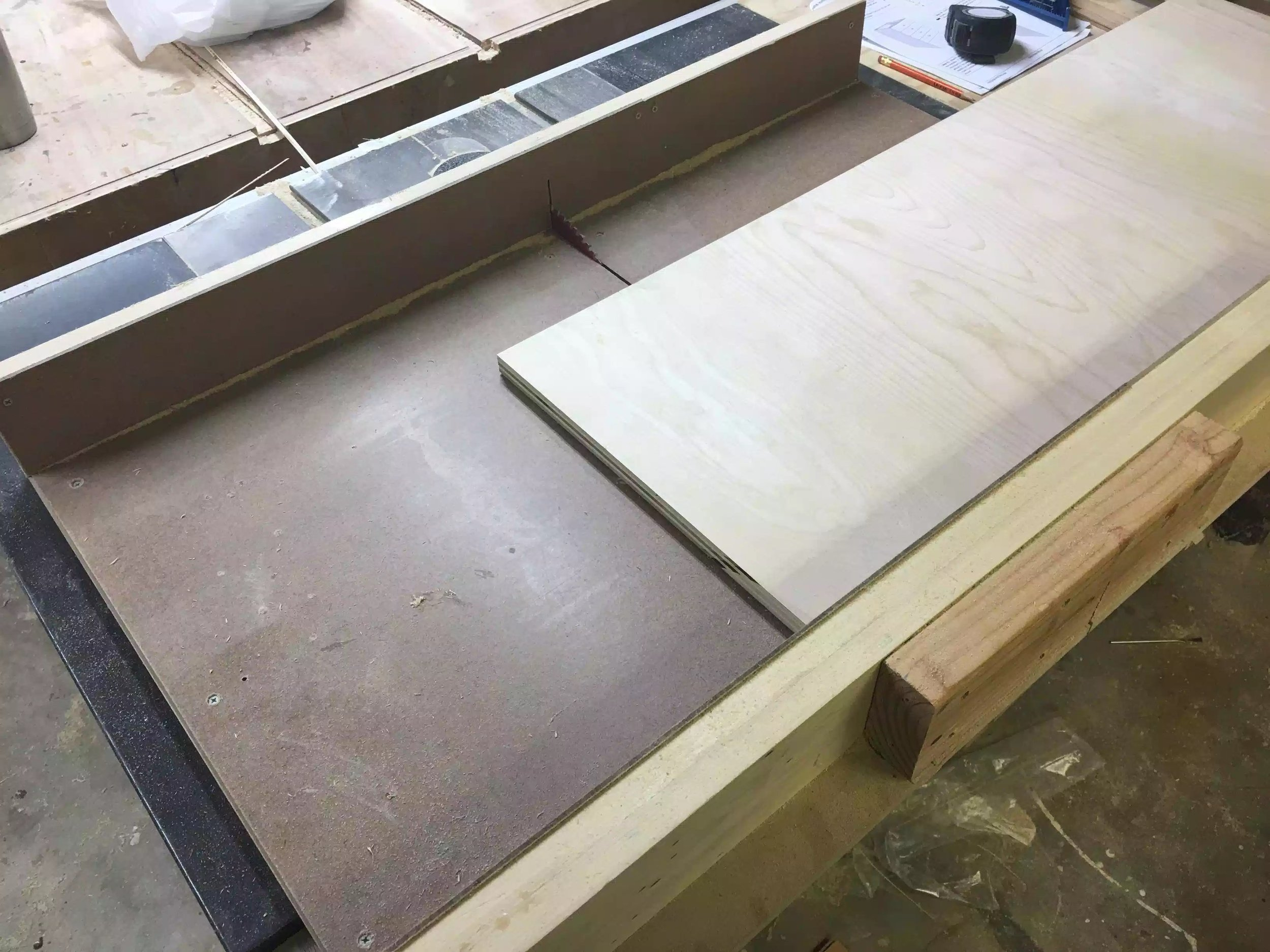 I used my crosscut sled on my table-saw to cut all the false fronts to final size.