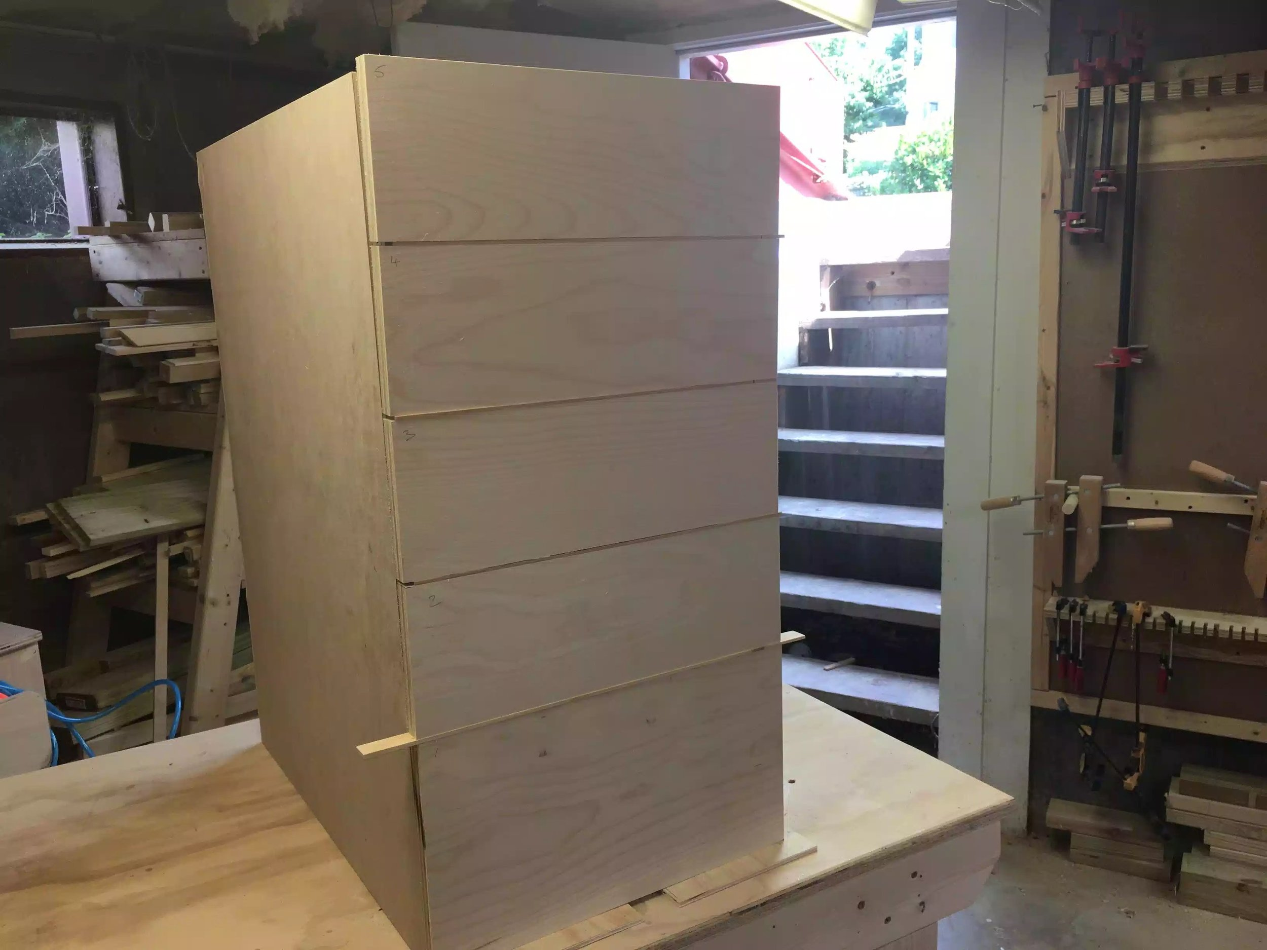 """I used 1/8"""" spacers to provide a little reveal between the drawers, I used my Grr-ripper to do that but more on that in the next part."""