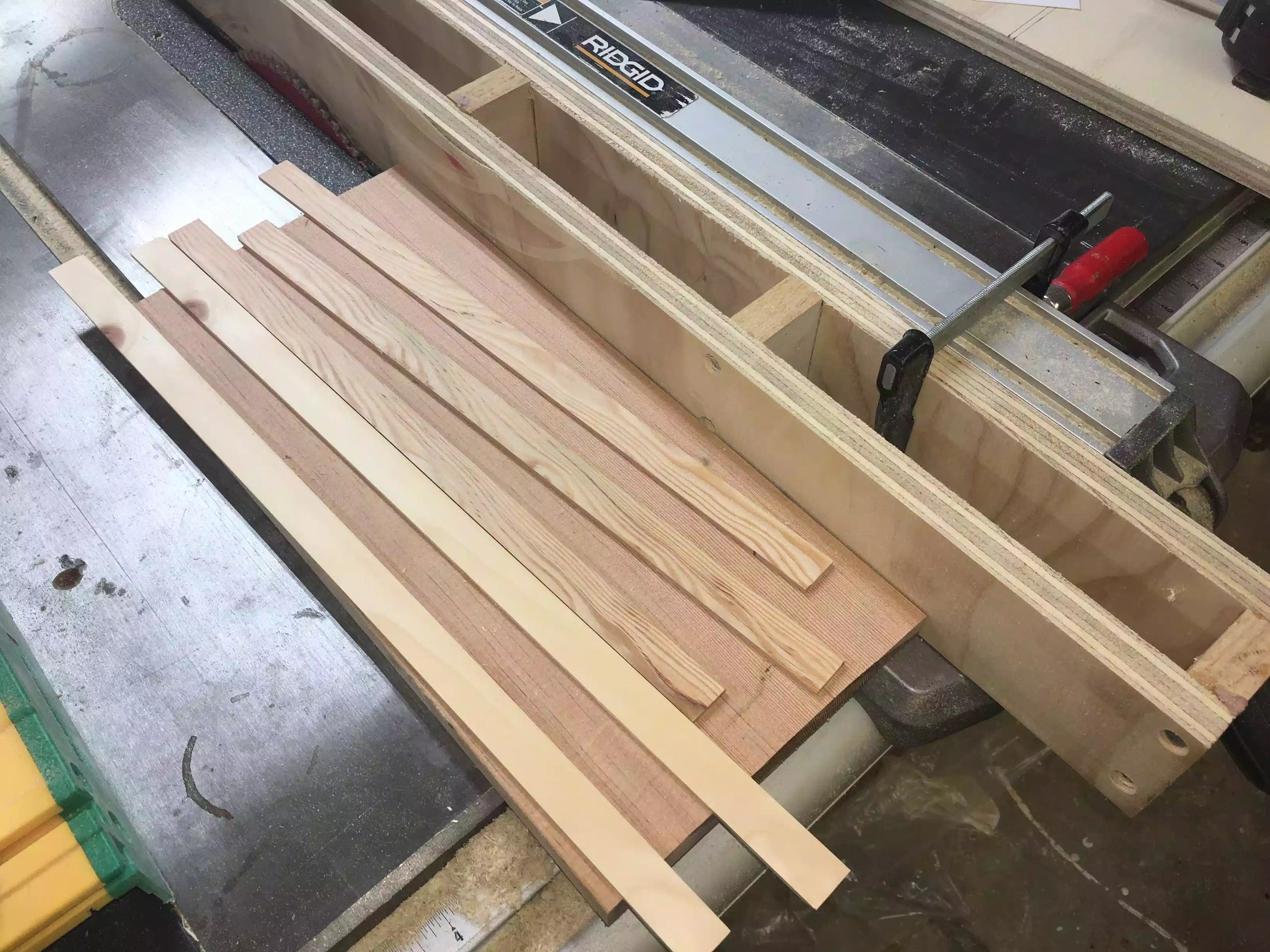 """Here is the 1/8"""" thick strips that I made, I need these as spacers between the drawer false fronts."""