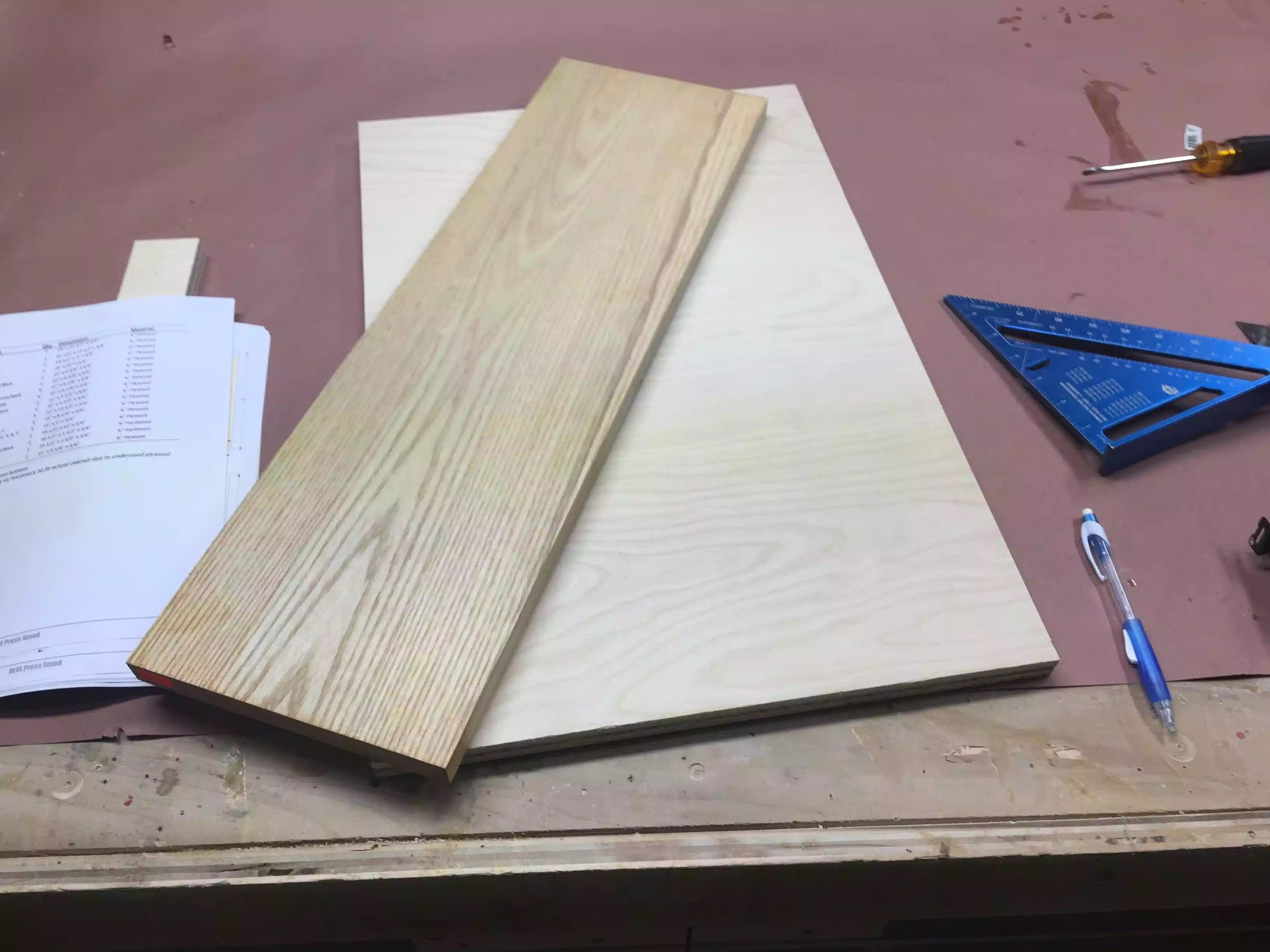 Here you can see the solid ash I picked up from a local lumber yard and the plywood top.