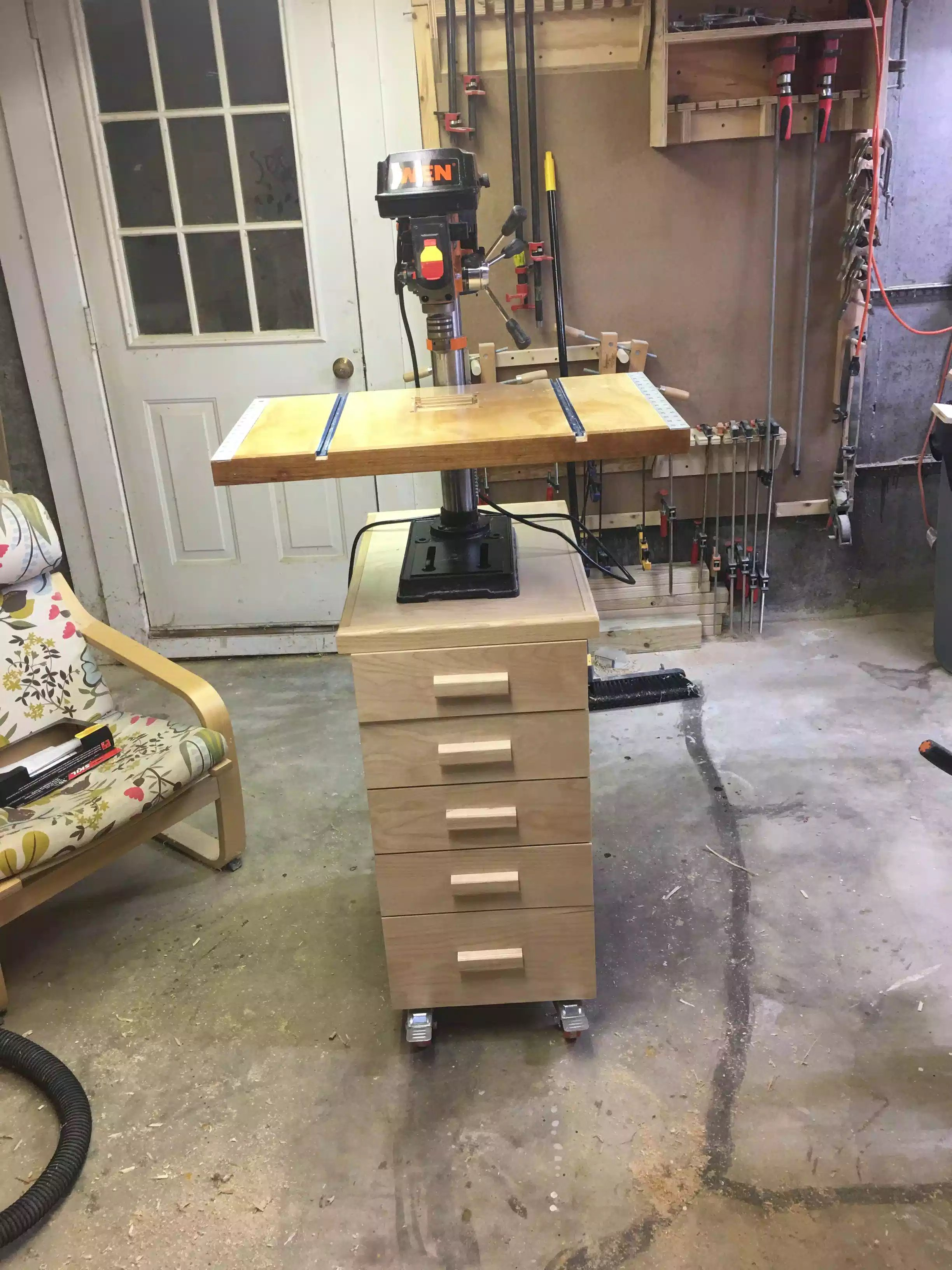 Completed drill press cart