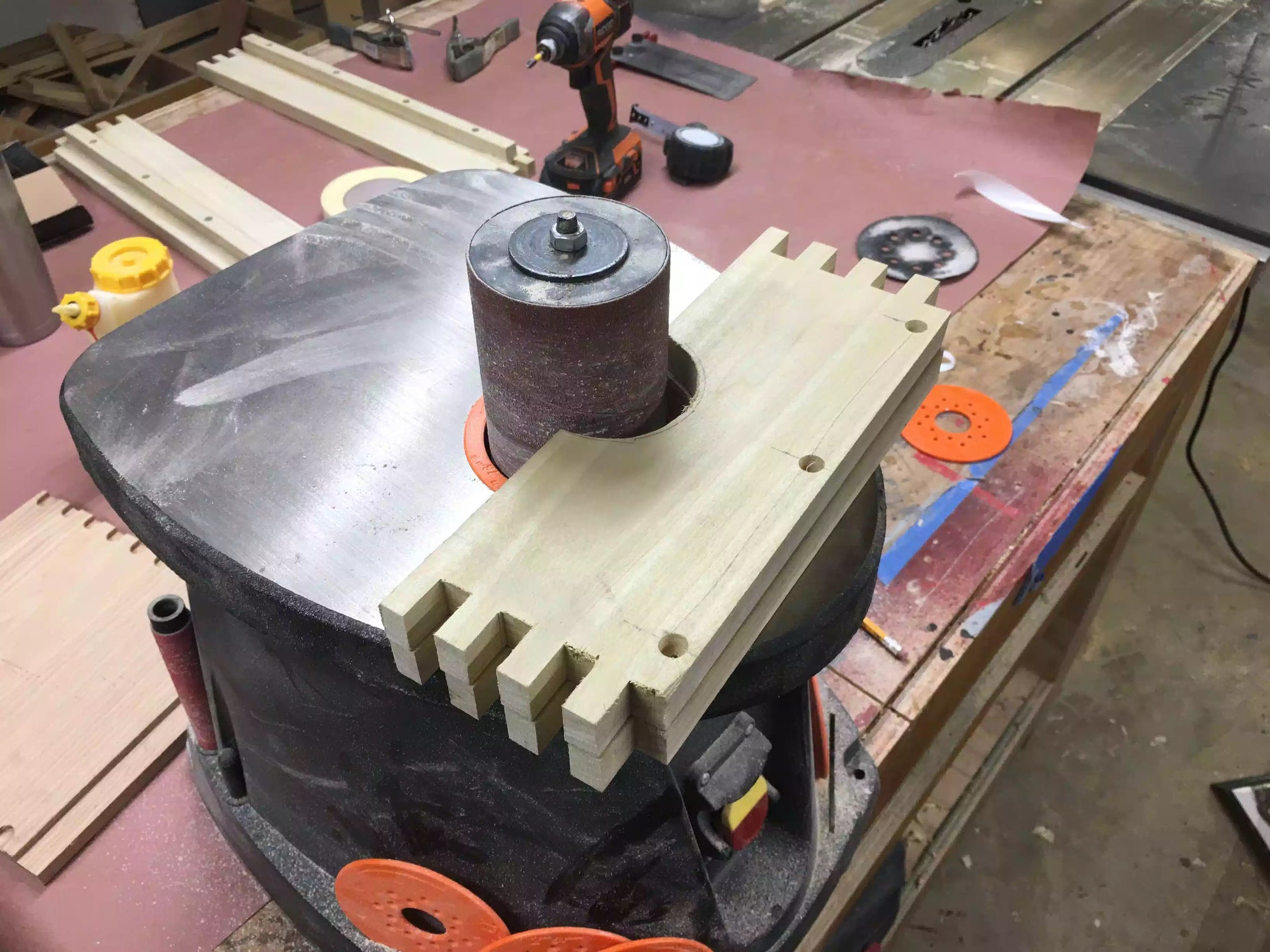 Here is the spindle sander sanding both sides to remove all the milling marks left by the band saw.