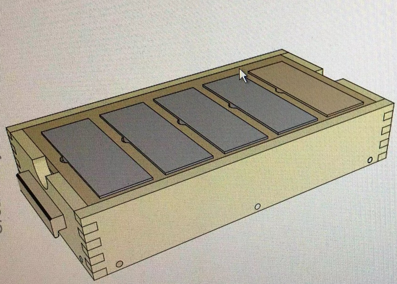 3D rendering of the sharpening station.