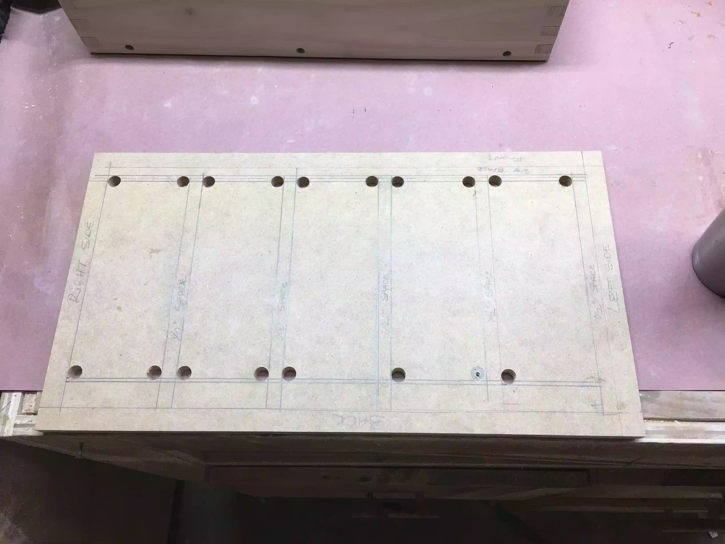 "Here is the template after I added the 1/2"" holes."