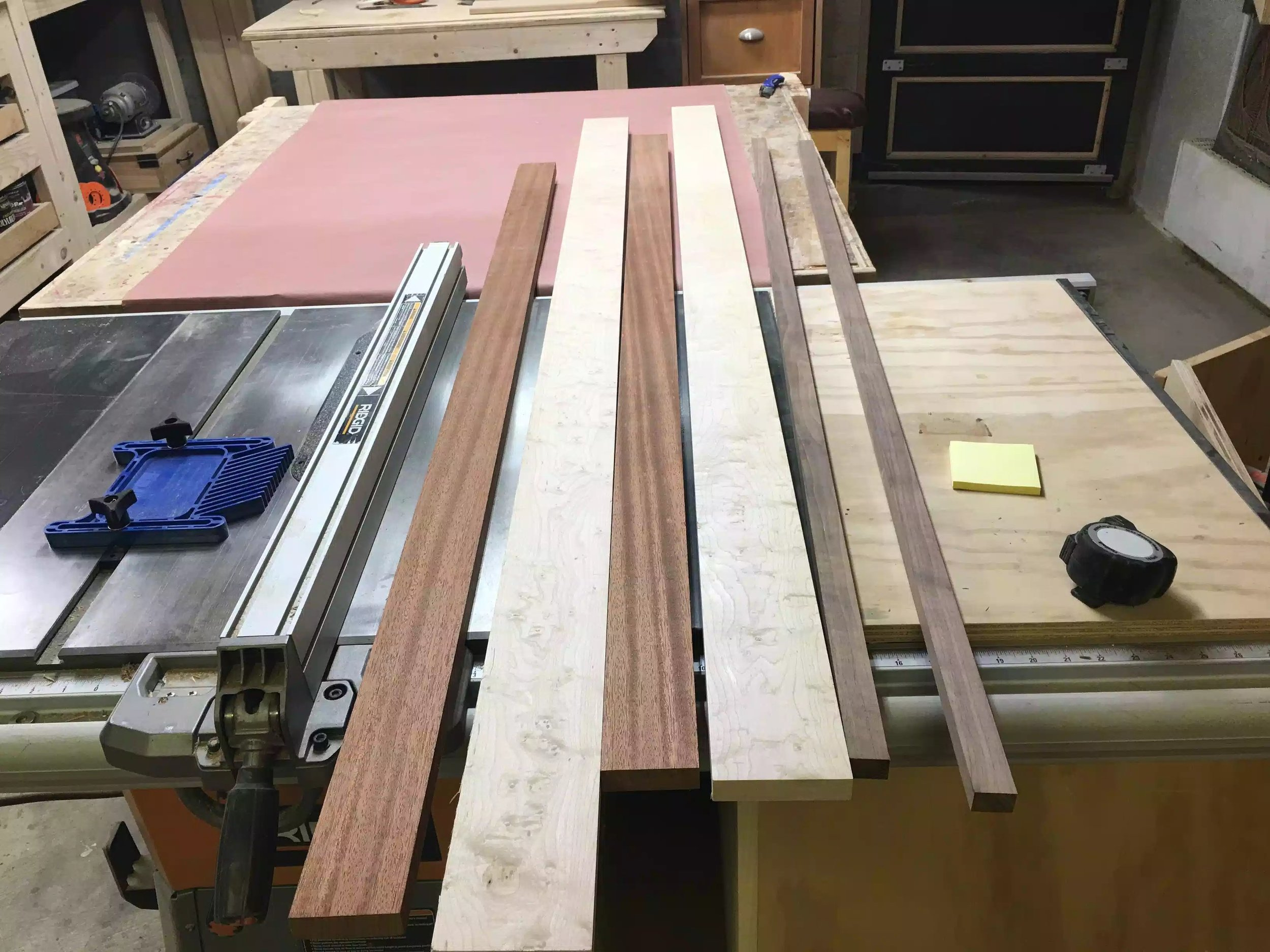 Here is the 3 species of wood that I will be ripping.