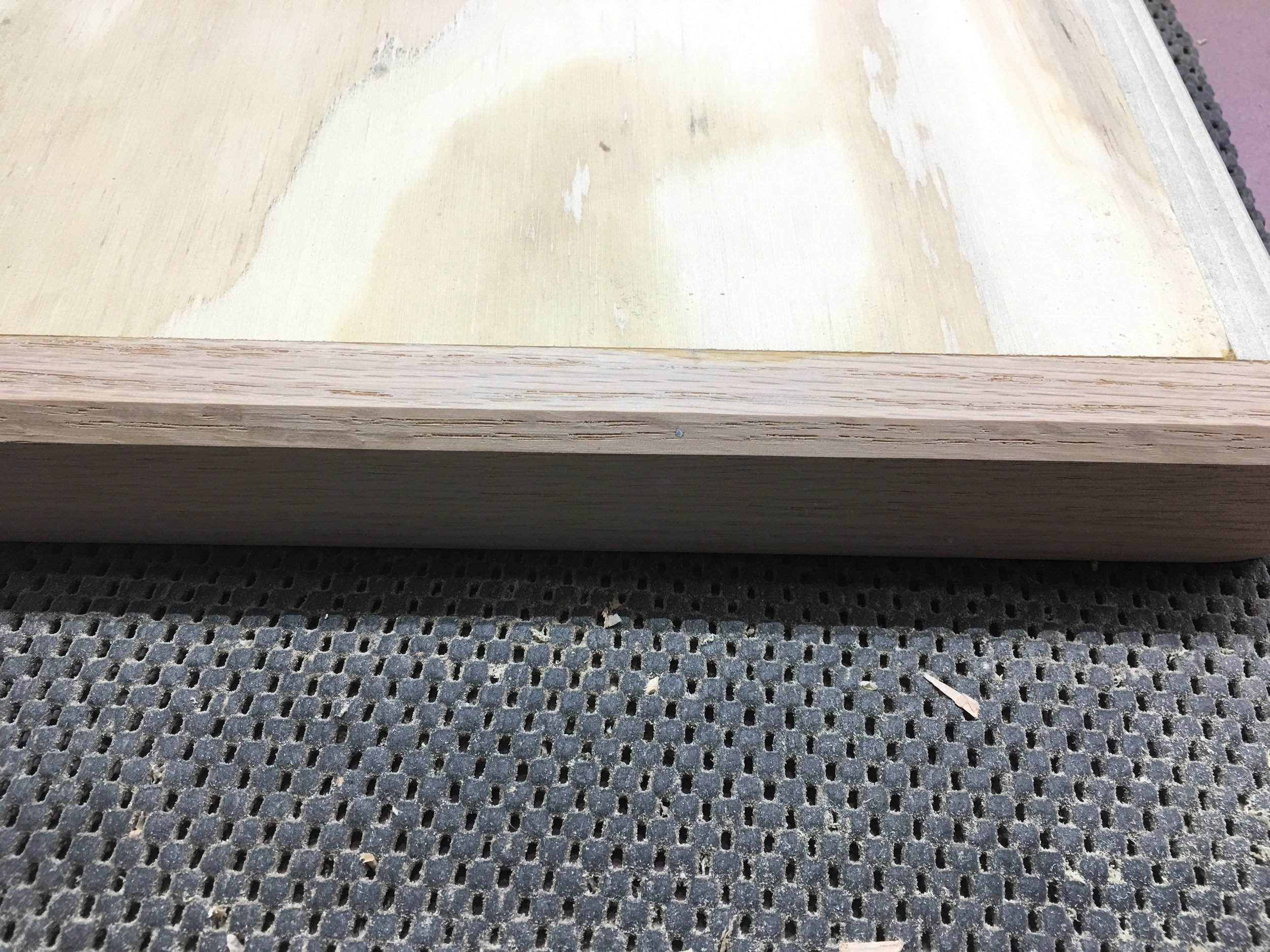 Here is a close-up of the chamfered edge as viewed from the bottom of the tray.