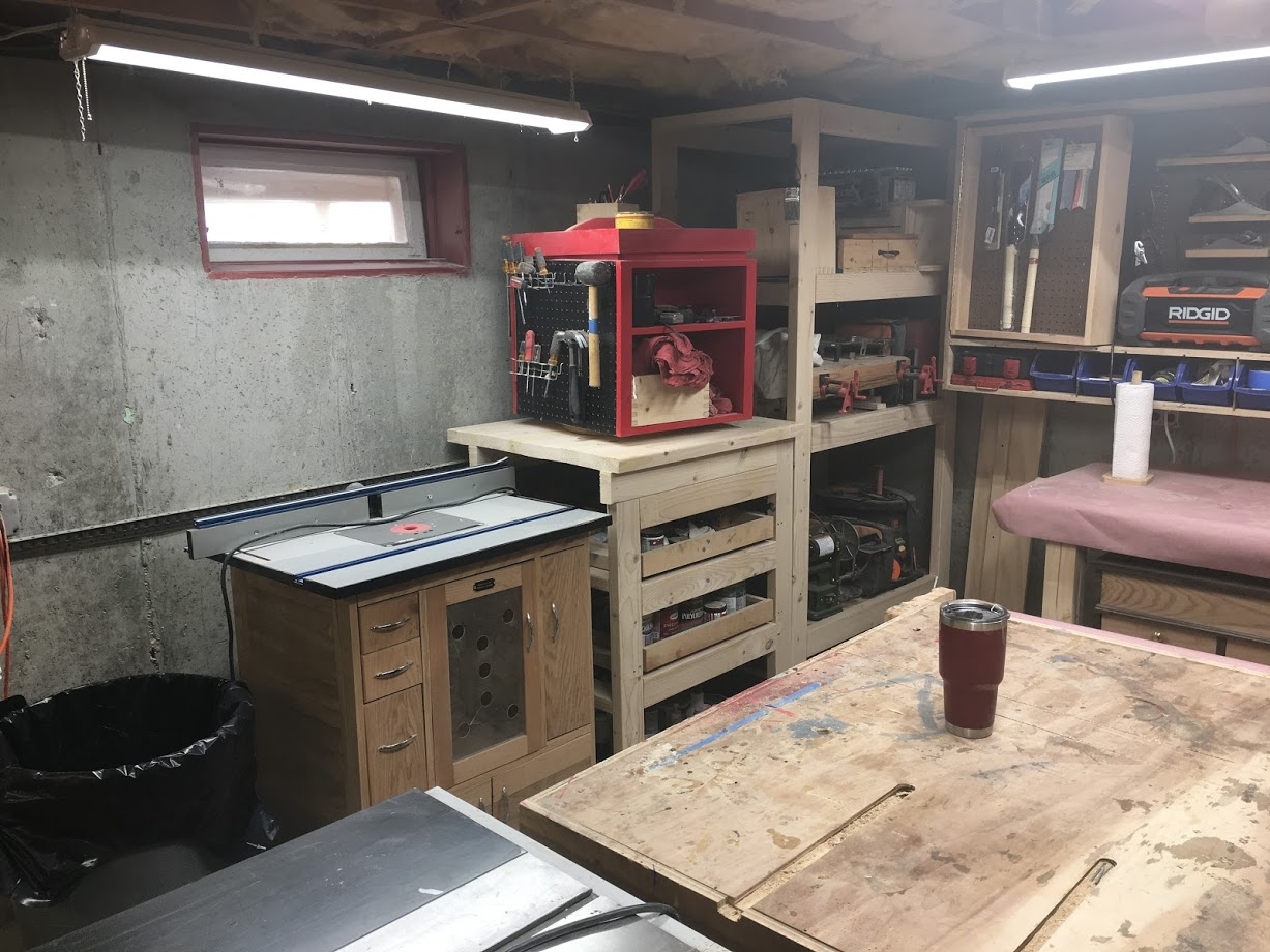 Here is where my router table resides, for now. Too be honest its on wheels so it can be stored anywhere in the shop.