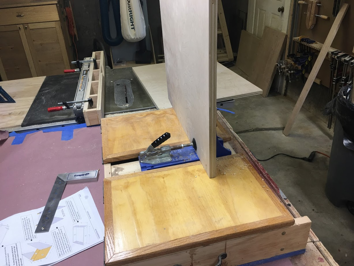 Here is a picture of my Kreg Pocket Hole Jig, getting started placing the holes, I spaced them every 4 inches.