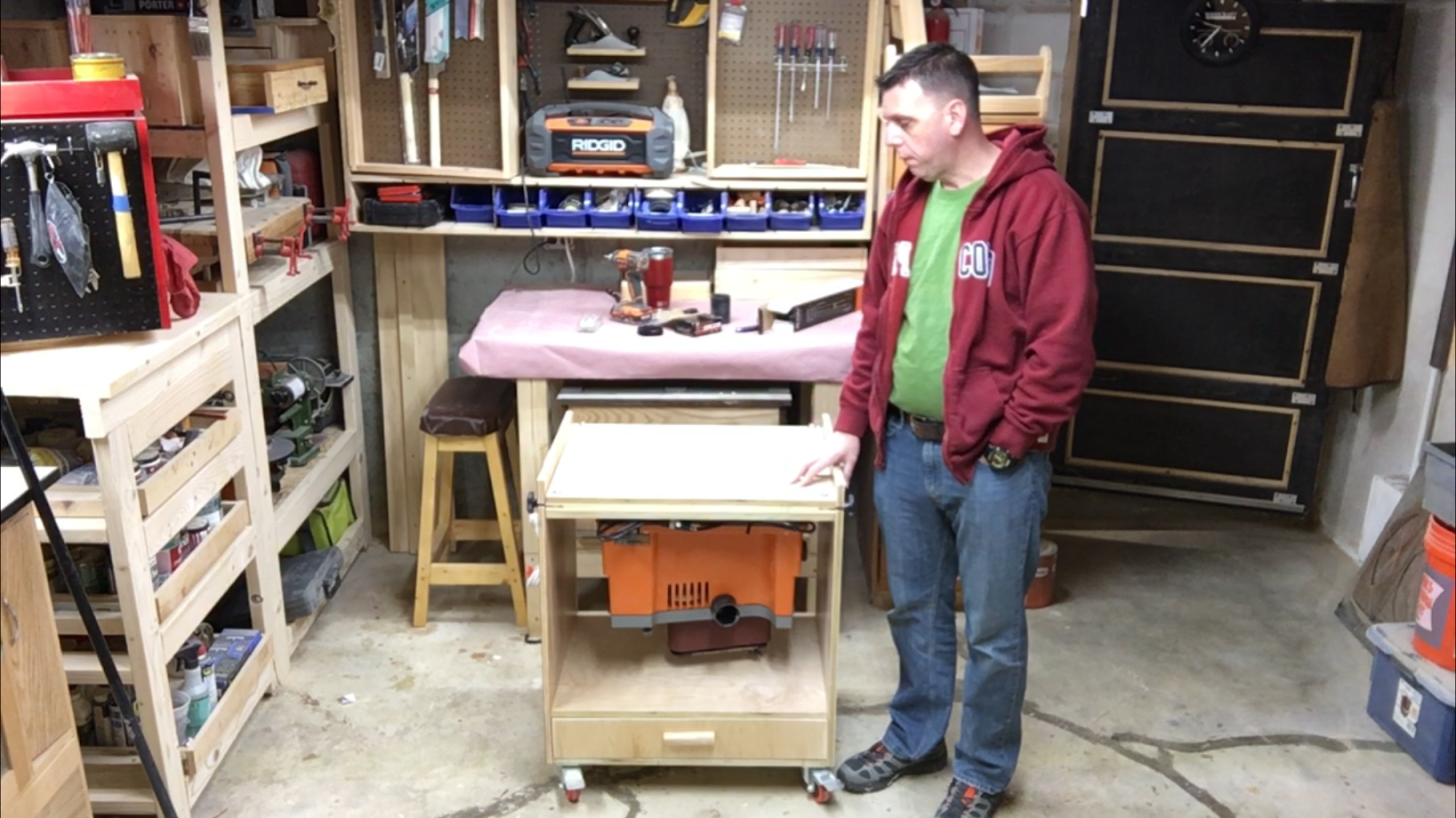 Finally an image of the cart with the sander flipped.