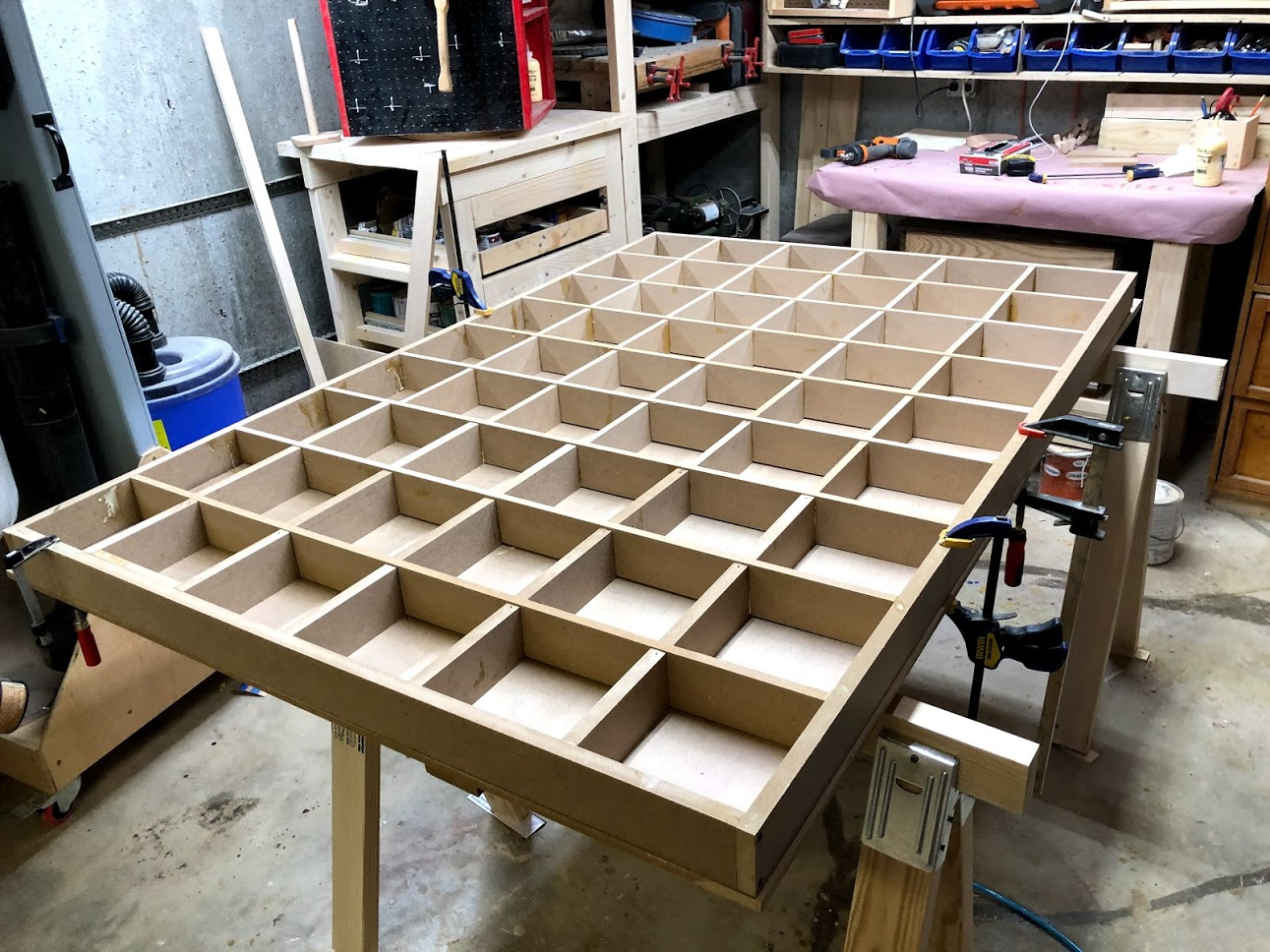 I used clamps to keep the mdf panel flat as I was conforming the inner grid to that surface, it does not have to look pretty but it needs to be flat