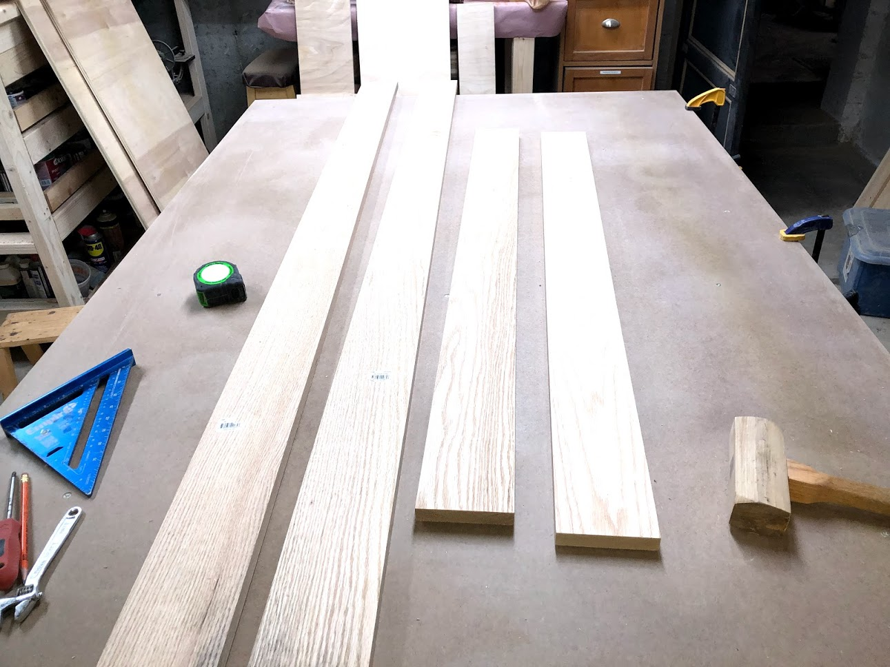 Here are the 4 pieces of oak