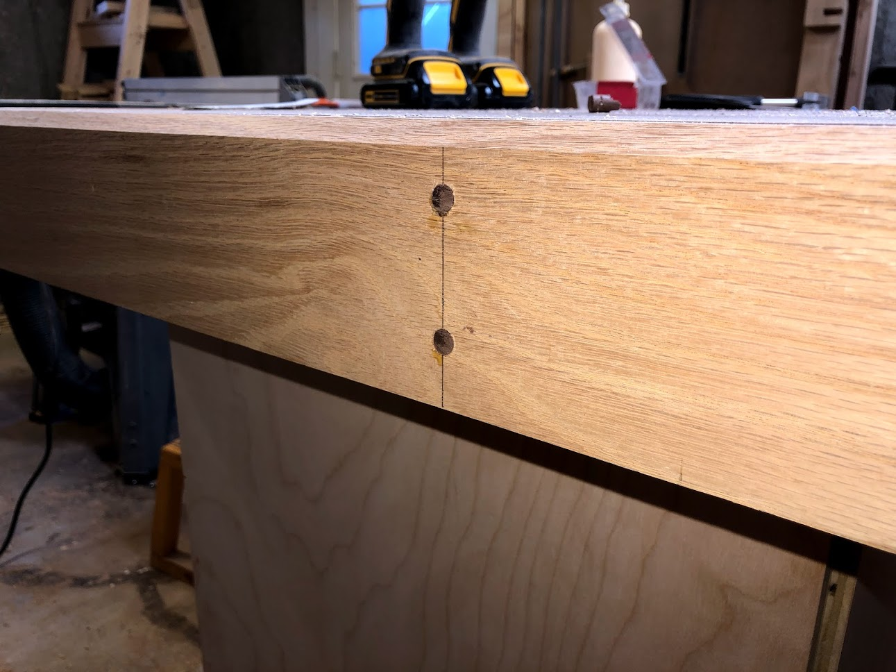 I trimmed the excess dowel, but still proud. Need to and them next