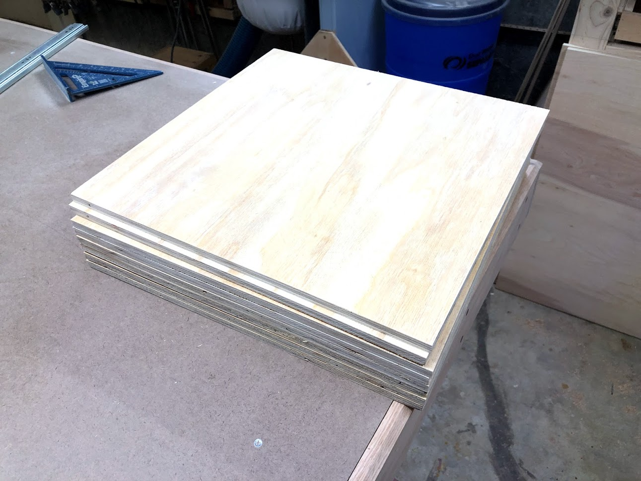 Here are the 8 drawer bases all cut to size.