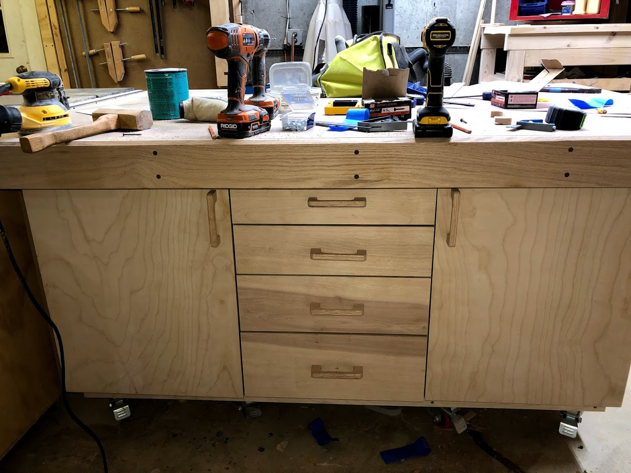 With all the drawers done I turned my attention to installing the pulls on the cabinet drawers.