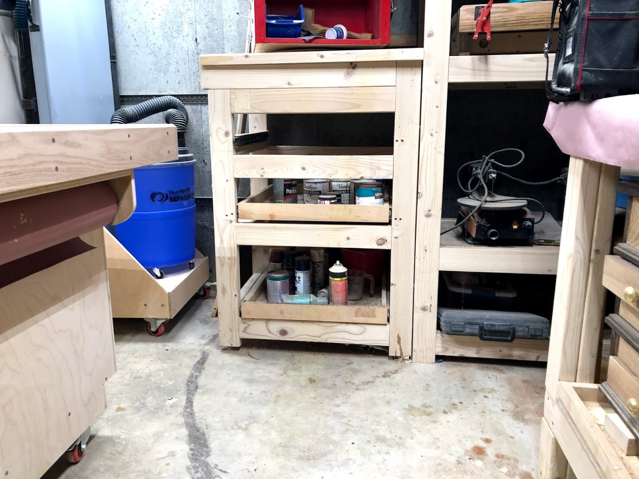 Here is the unit that I made with pull out drawers that used to store all my wood finishes.