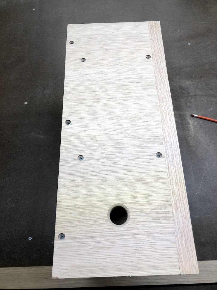 Here are the counter sunk holes before I cover them with the walnut dowels