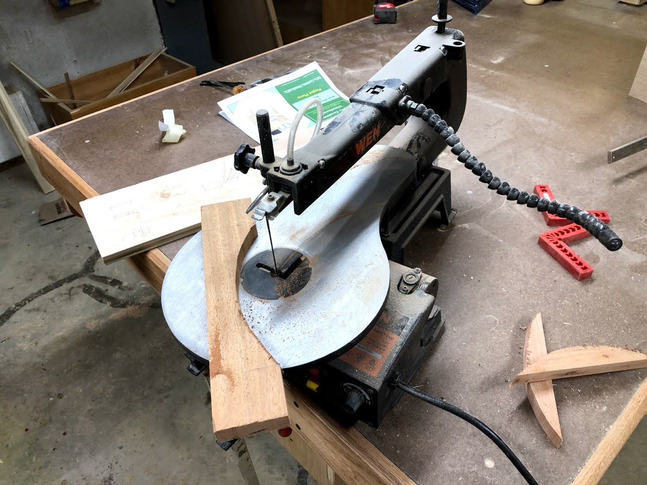 My band saw would of been a better choice to cut out the curve but needs a new blade, so I used my scroll saw to rough out the curve.