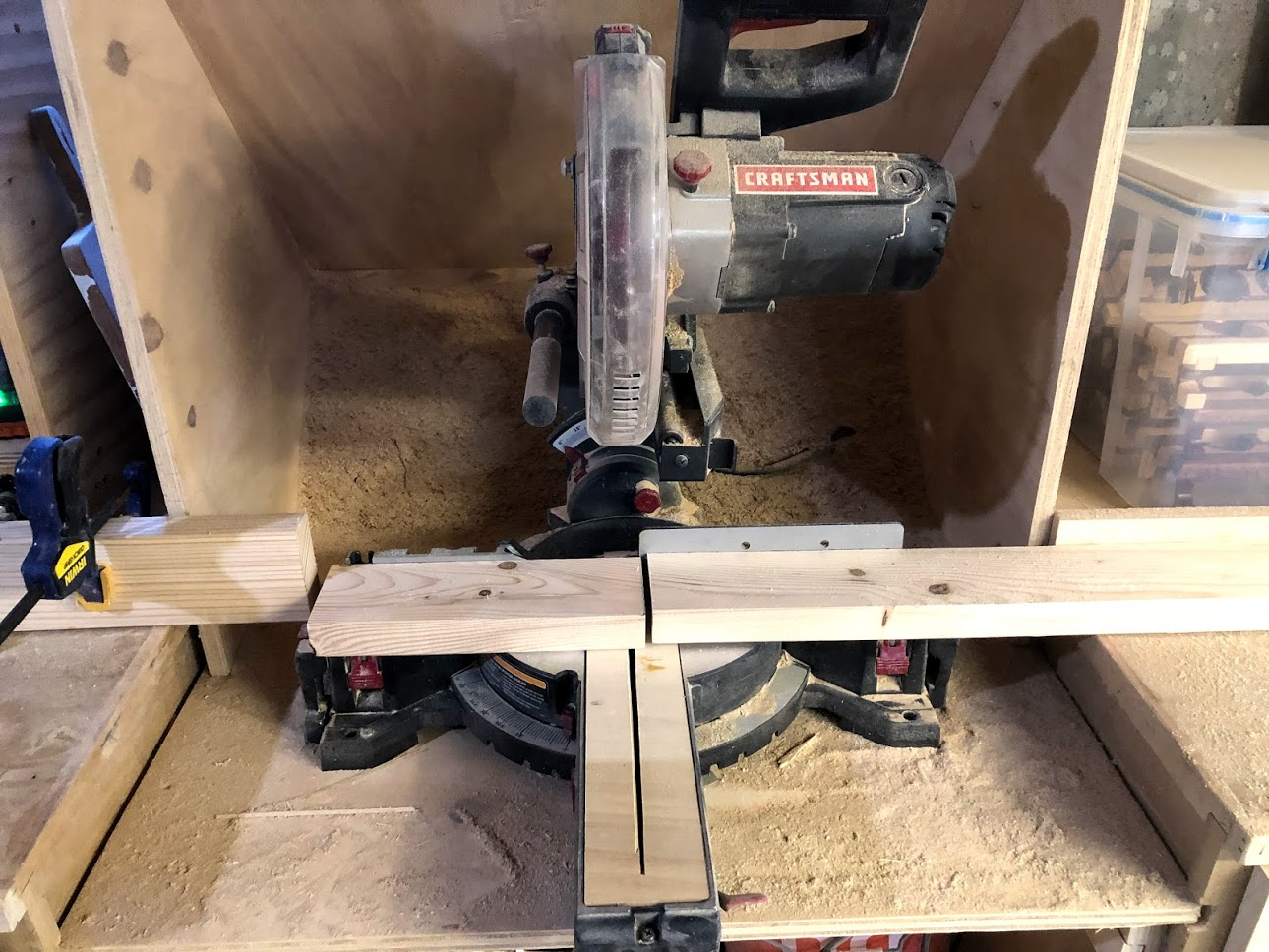 Cutting the Jenga Blocks on the miter saw