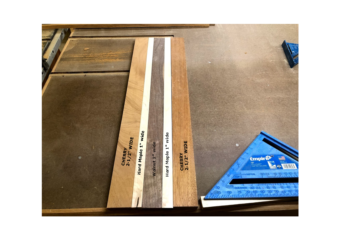 """Here is the boards all ripped and crosscut to final dimensions, I used Cherry (2-1/2"""" wide), Maple(1"""" wide), Walnut(2"""" wide), Maple(1"""" wide) and Cherry 2-1/2"""" wide)"""