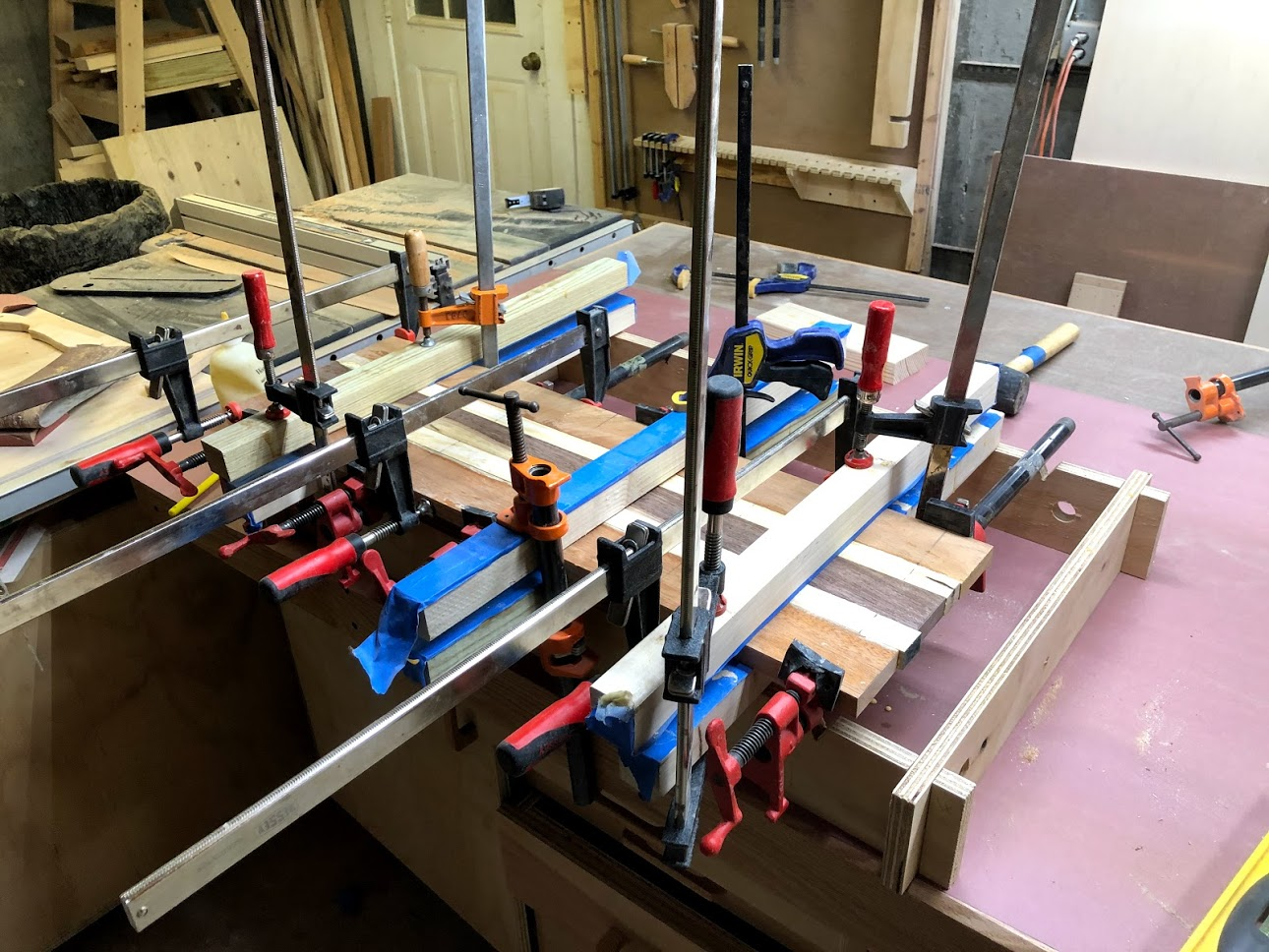 """Really need more clamps, lol. I never seem to have enough, it amazes me how many clamps you need when doing even a small glue up, this board is only 30"""" long x 9' wide."""