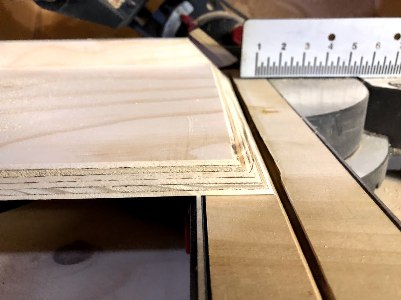 Here is the mitered edge of the miter saw sled, I used this edge as a reference to line up my cuts.