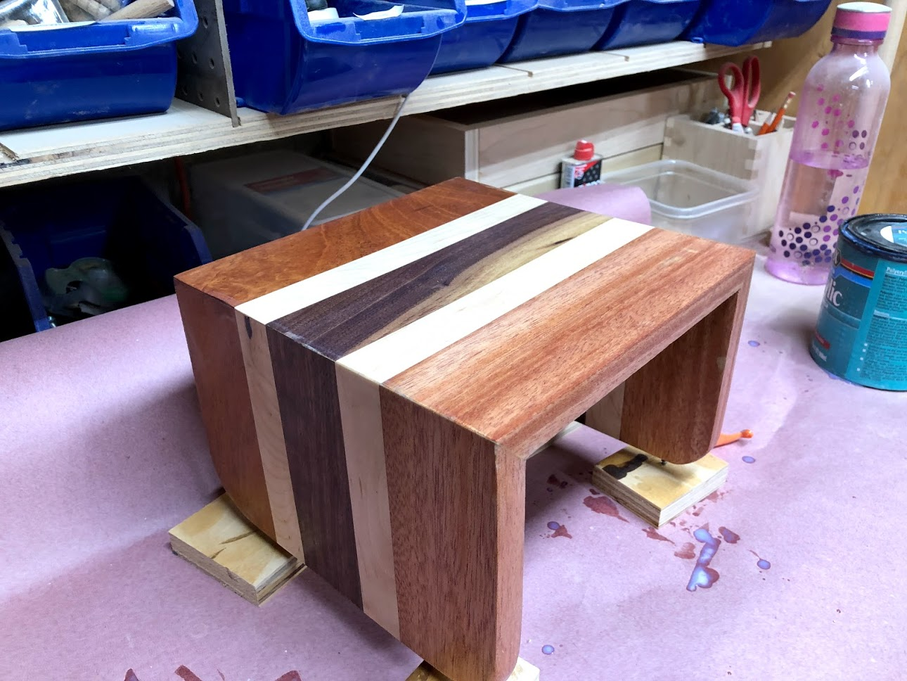 The finish has just been applied and waiting for it to dry, I just love how the wood pops after applying it.