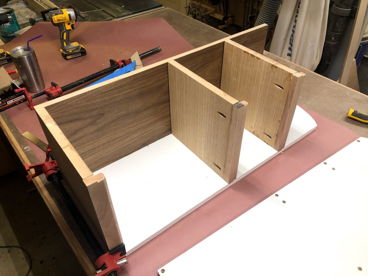 Here are all 3 shelves with the pocket holes and the oak shelf fronts attached.