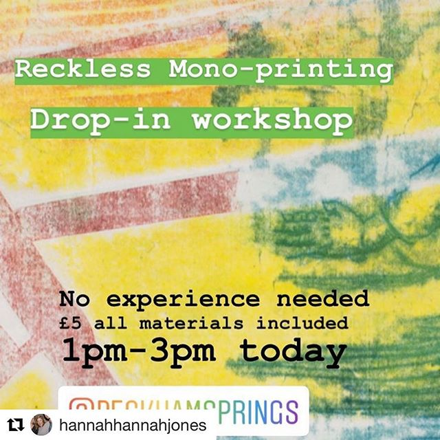 #Repost @hannahhannahjones is at @peckhamsprings today chillin and printing as part of @creativedebuts and @kerbfood Art Market.  Join me for £5 all materials included, and you can take a lovely print home with you. It's dead easy, promise.  #creativefix #thingstodolondon #weekend #weekendvibes #workshop #learnsomethingnew