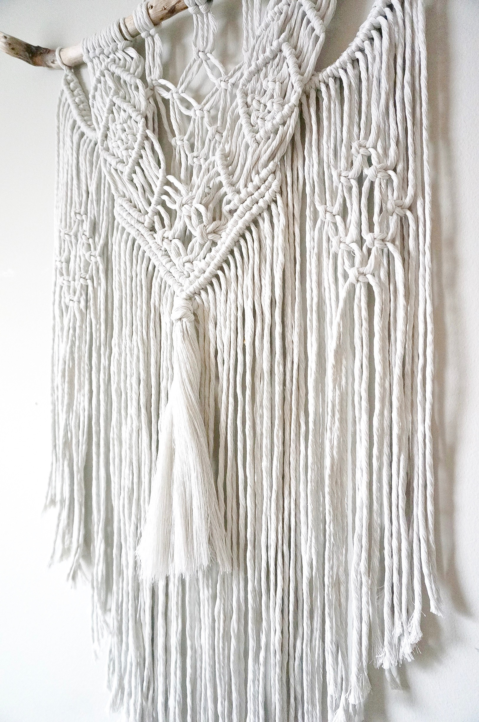 $70  |  Medium Macrame Wall Hanging  |  Silver Gray