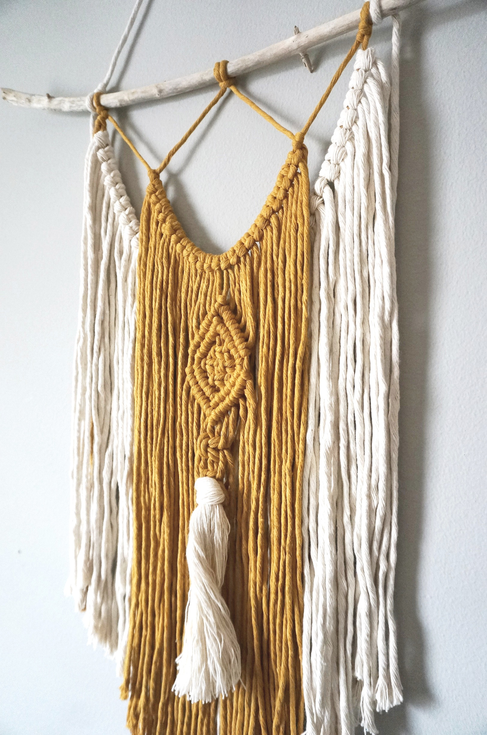 $45  |  Small Two-Tone Macrame Wall Hanging  |  Mustard + Ivory