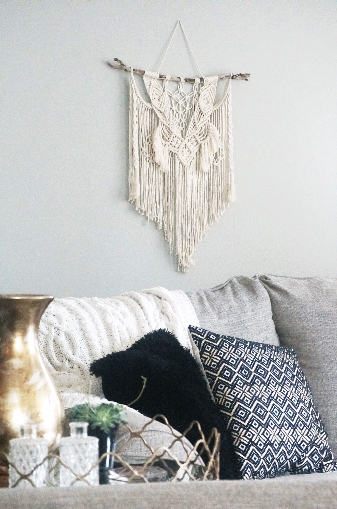 $70  |  Medium/Large Macrame Wall Hanging  |  Ivory