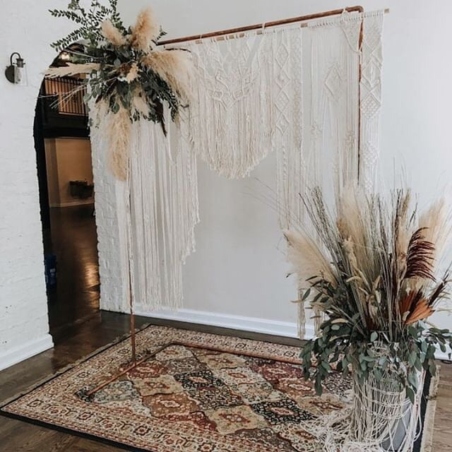 I began learning how to create macrame wall hangings with the goal to craft a beautiful piece for my own wedding. •  I'm so glad I pushed through that journey and kept creating because it has all led me here 2 years later. Kinda wish I had developed my skills enough to have made this beauty back then but it's a learn as you go type of thing. •  I still have the first piece I ever made that hung behind our cake table and love it just as much now as I did then! Here's to progress, growth and to the support I've received from all of you! ✨