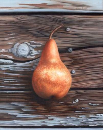 Pear on Wood    Oil on Panel 9x12 SOLD