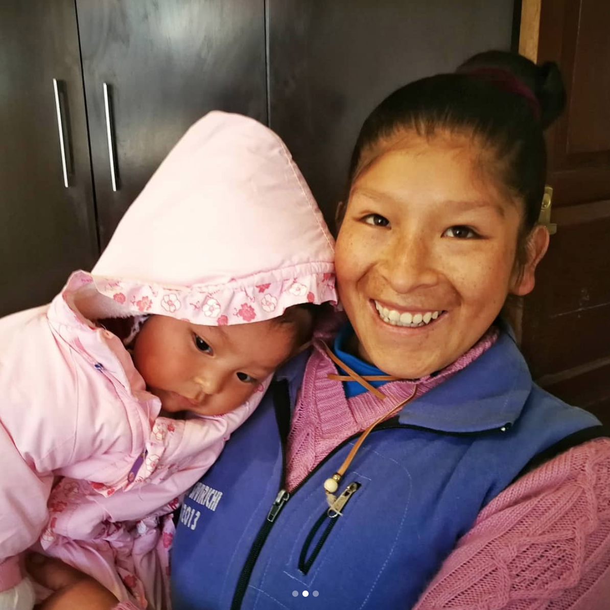 Ubaldina (pictured here with her daughter) is currently training to be a seamstress.