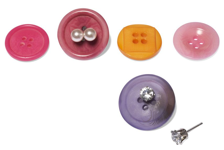 Reuse Stray Buttons - Keep Studs Organized, Keep Pairs Together, Pop Into a Pouch/Pill Box