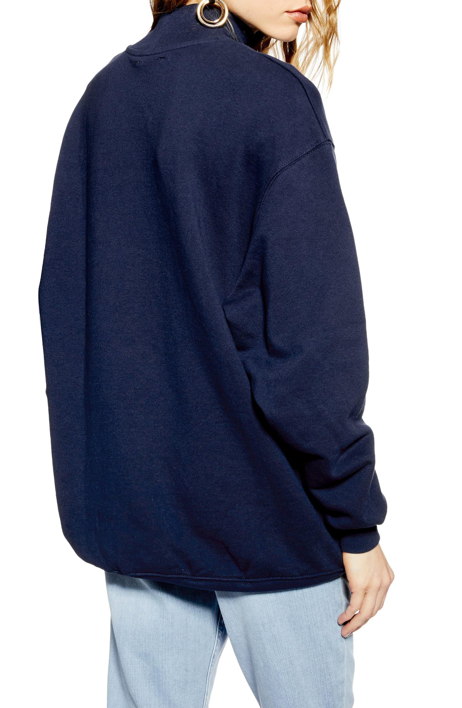 Oversized Mock Neck Sweatshirt by Topshop