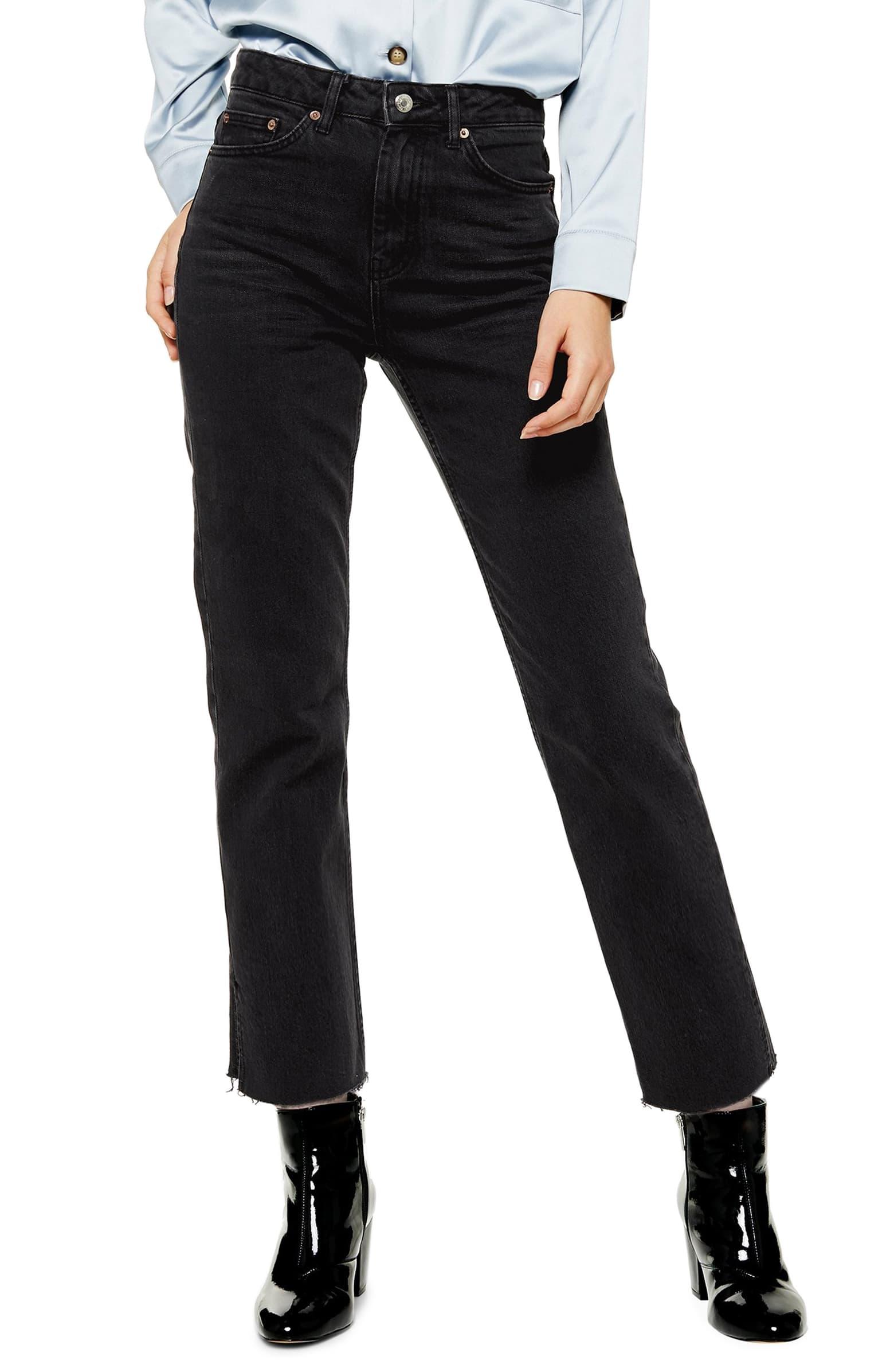 High Waist Split Hem Straight Leg Jeans by Topshop