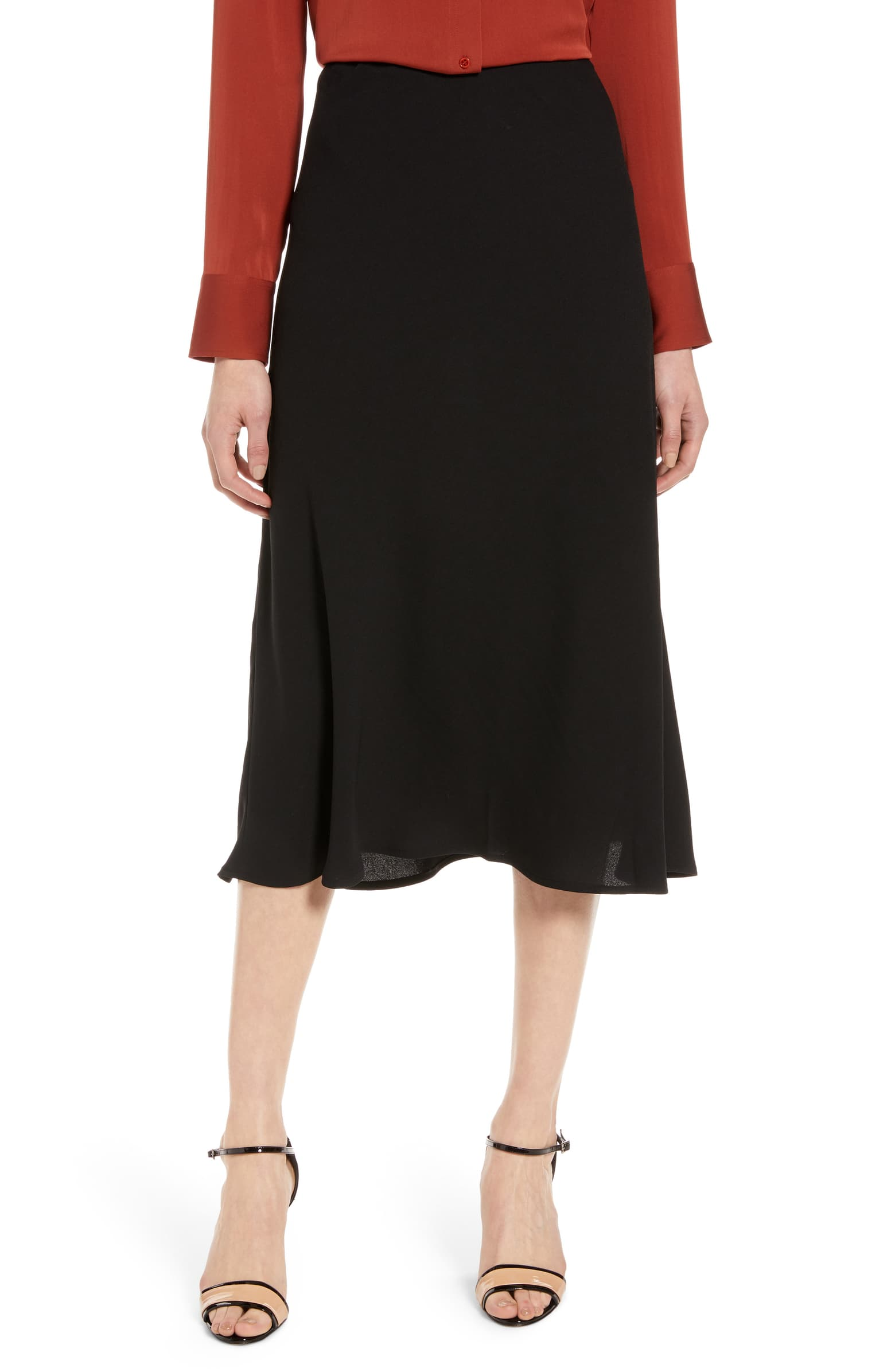 Bias Cut A Line Skirt by Halogen