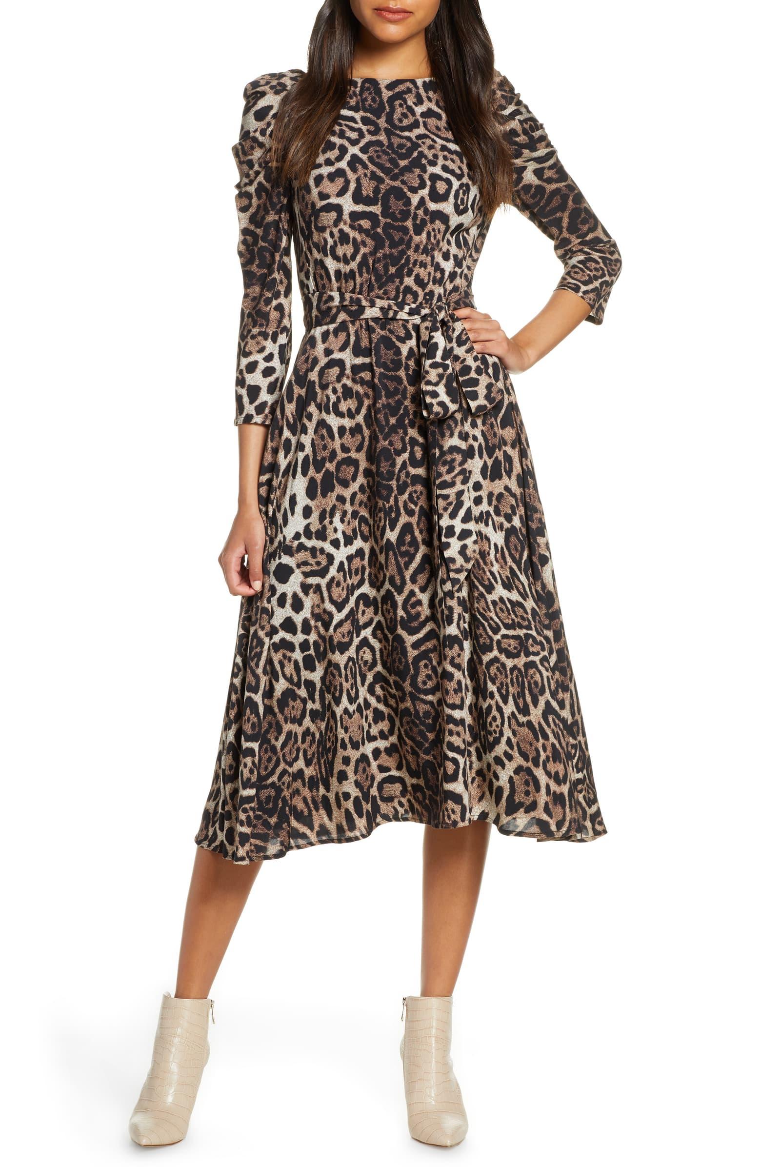 Long Sleeve Leopard Midi Dress by Eliza J
