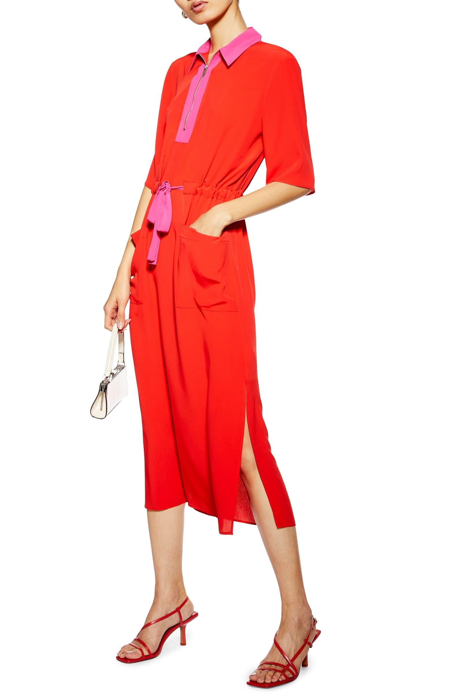 Tie Waist Midi Dress by Topshop