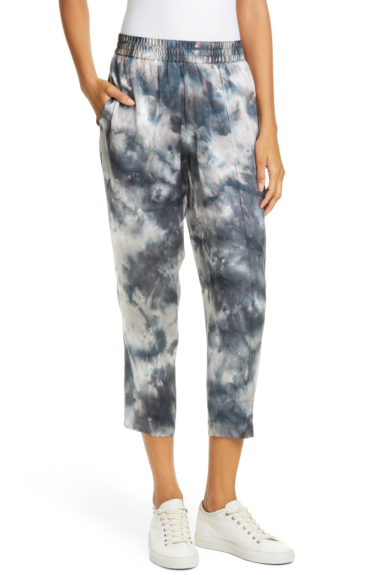 Tie Dye Silk Charmeuse Crop Pants