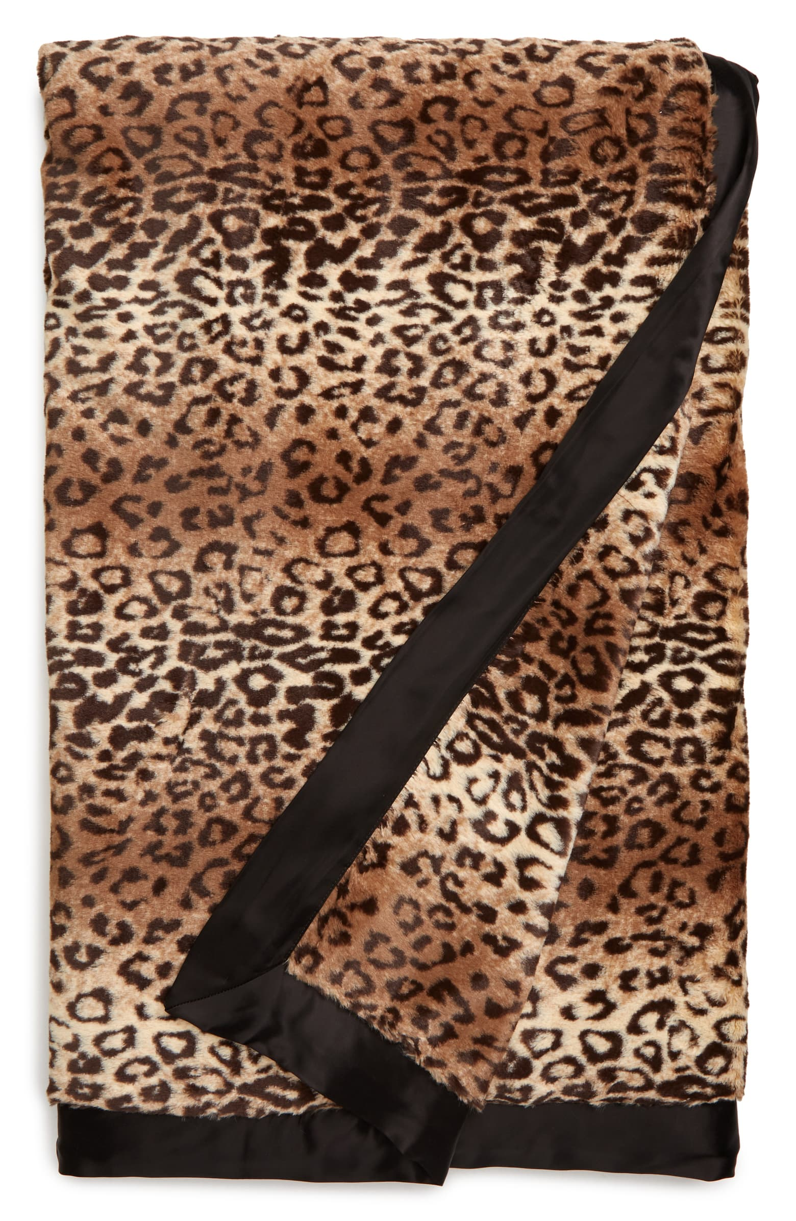 Luxe Espresso Leopard Faux Fur Throw Blanket