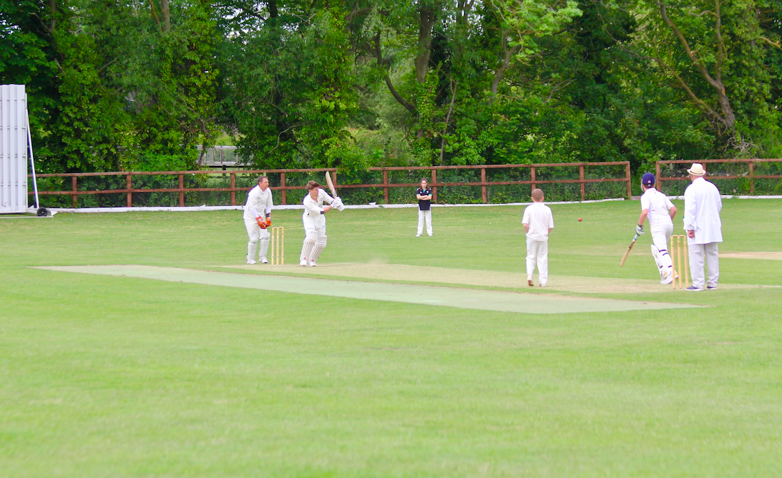 Young Sam Mudie's first two shots were sixes! Worried about losing all the match balls in the field so no one could else keep play, he kindly toned it down a little thereafter.