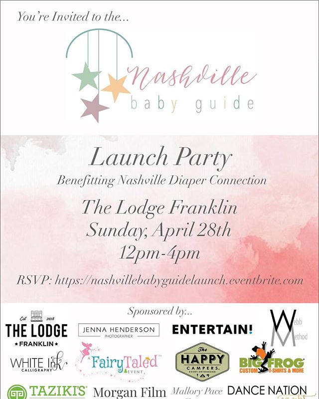 My friend @alydiccio and her company @nashvillebabyguide will be hosting their Launch Party this weekend.  One thing about Aly is she knows how to throw a party! Bring the whole family and come check out out. . First of all, Mom-mosas will be served along with a juice bar for the kids.  There will be family photo mini sessions. Cinderella. @arcadenashville with a 2 and under play station. Gift card giveaways. Braid & Spray Bar. Kid Dance instructors. T-shirt giveaways and FOOD! . This Sunday, April 28th between 12:00pm - 4:00pm at the @TheLodgeFranklin. I hope to see you there!