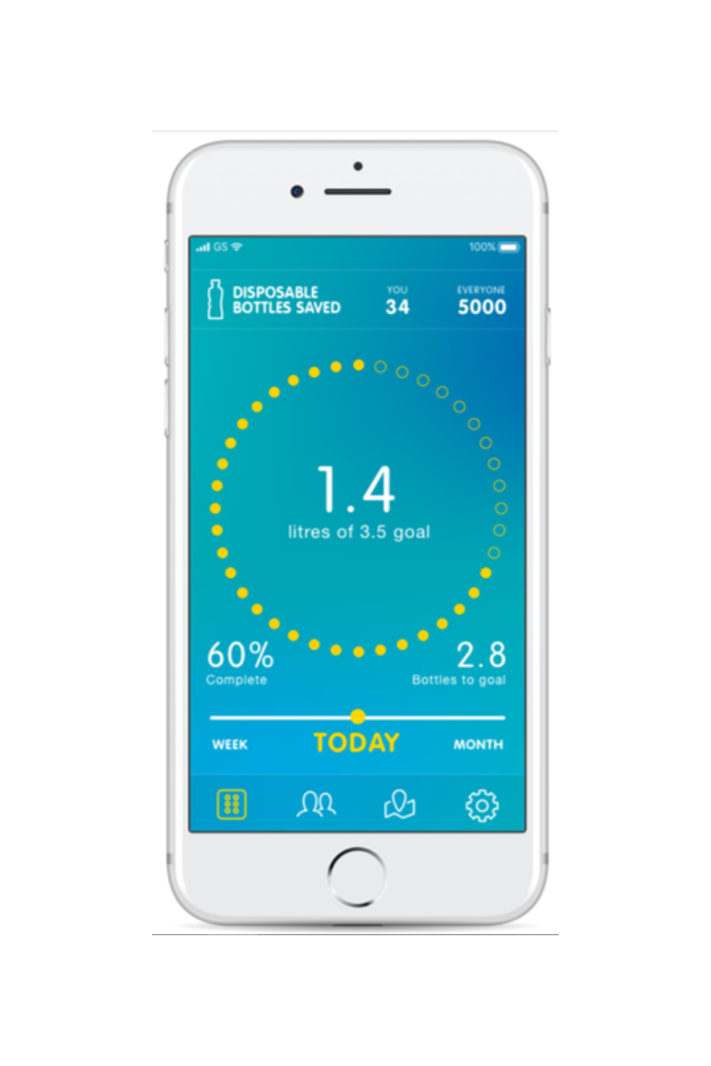 - Sync up your bottle with your water wellness app and set personalised targets to match your health goals.