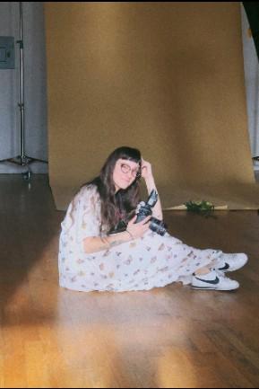 The artist herself on set in Starr Street Studio A
