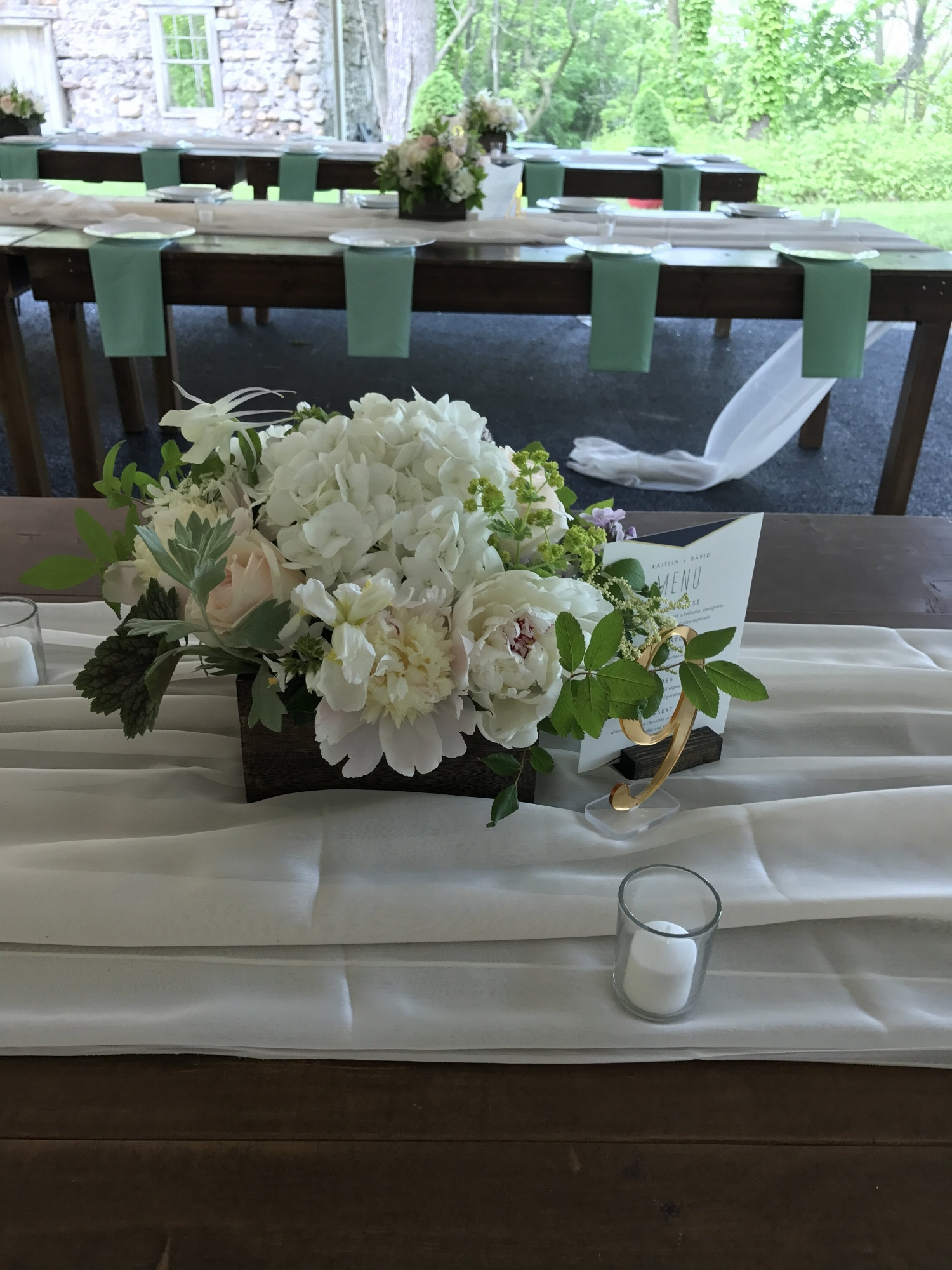 Early July Wooden Box Centerpiece